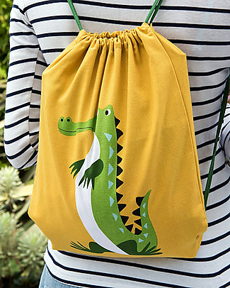 Rex London Soft Cotton Drawstring Bag 37 x 33 cm, Crocodile - Perfect for pre-schoolers! Small Backpacks