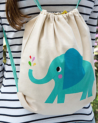 Rex London Soft Cotton Drawstring Bag 37 x 33 cm, Elvis the Elephant - Perfect for pre-schoolers! Small Backpacks