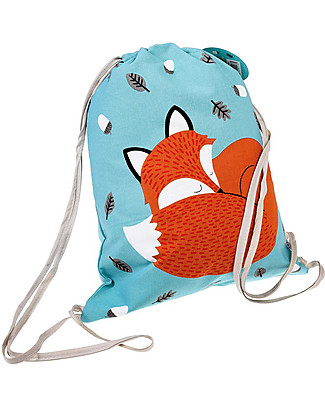 Rex London Soft Cotton Drawstring Bag 37 x 33 cm, Rusty the Fox - Perfect for pre-schoolers! Small Backpacks