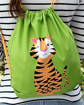 Rex London Soft Cotton Drawstring Bag 37 x 33 cm, Tiger - Perfect for pre-schoolers! Small Backpacks