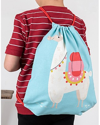 Rex London Soft Cotton Drawstring Bag 38 x 34 cm, Dolly Llama - Perfect for pre-schoolers! Small Backpacks