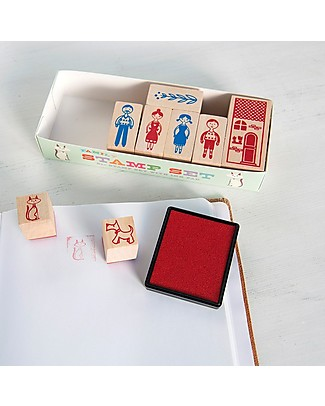 Rex London Stamp Set, Family - Includes ink and 8 stamps! Stickers & Stamps Sets