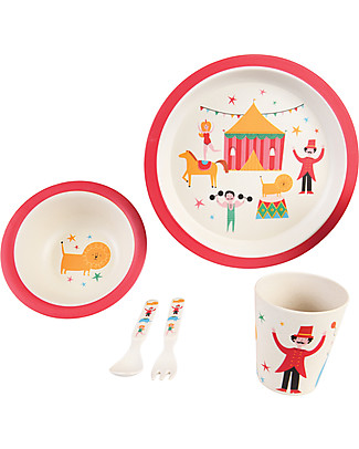 Rex London Tableware Set, Big Top Circurs: Cup, Bowl, Plate and Cutlery - Bamboo Fibre Bowls & Plates