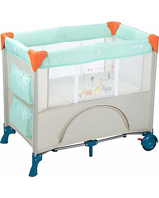 Safety 1st Mini Dreams Travel Bed, Happy Day - With Storage Compartments! Travel Cots
