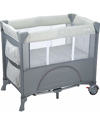 Safety 1st Mini Dreams Travel Bed, Warm Grey - With Storage Compartments! Travel Cots