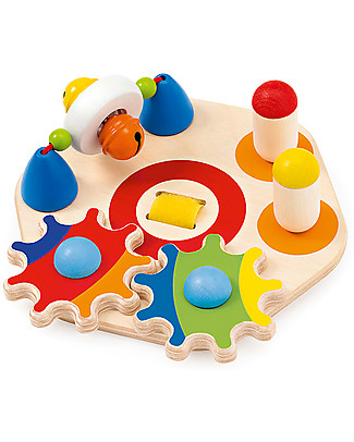 Selecta Minitivity, Wooden Experience Disk - With Velcro: attach it anywhere! Wooden Stacking Toys