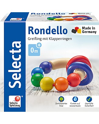 Selecta Rondello, Multicoloured Wooden Toy - Ideal from birth! Wooden Rattles