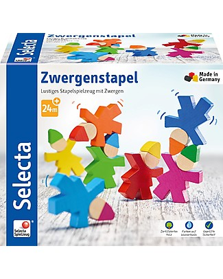 Selecta Stacking Gnomes, Wooden Characters to Stack Wooden Blocks & Construction Sets