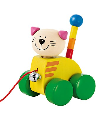 Selecta Tinka, Wooden Pull-Along Cat, with Bell! Wooden Push & Pull Toys