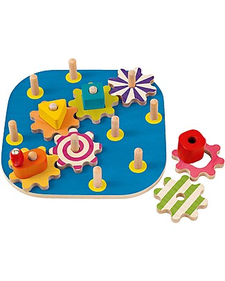 Selecta Winding Fun, Wooden Experience Disk - with Rotating Shapes! Wooden Stacking Toys