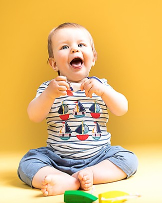 Sense Organics Baby Short Sleeves Striped Shirt with Applique, Boats - 100% organic cotton T-Shirts And Vests