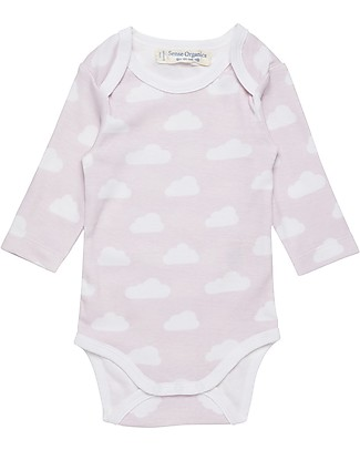 Sense Organics Long Sleeves Baby Body Yvon, Mauve Clouds - 100% organic cotton Short Sleeves Bodies