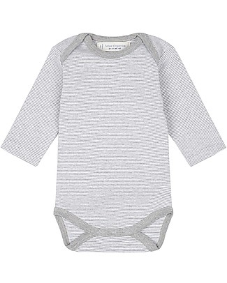 Sense Organics Long Sleeves Baby Body Yvon, Pinny Stripes - 100% organic cotton Long Sleeves Bodies