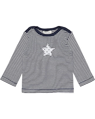 Sense Organics Long Sleeves Crewneck T-shirt Luna, Navy Stripes and Star - 100% organic cotton Long Sleeves Tops