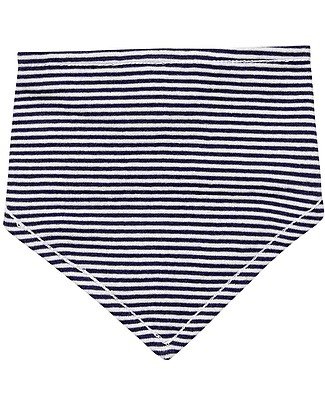Sense Organics Reversible Bib Dribble Bib, Fish/Blue Stripes - 100% organic cotton Bandana Bibs
