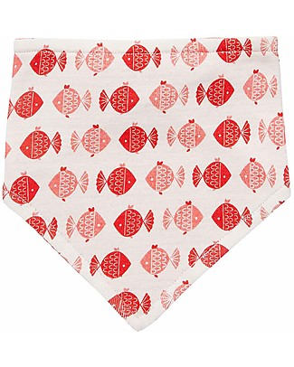 Sense Organics Reversible Bib Dribble Bib, Fish/Pink Stripes - 100% organic cotton Bandana Bibs