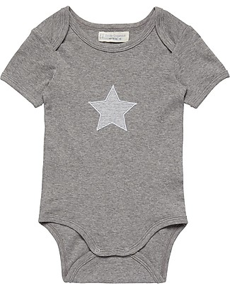 Sense Organics Short Sleeves Baby Body Yvon, Grey Melange with Star Applique - 100% organic cotton Short Sleeves Bodies