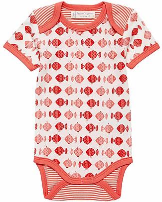 Sense Organics Short Sleeves Baby Body Yvon, Pink Fish - 100% organic cotton Short Sleeves Bodies