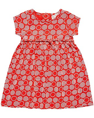 Sense Organics Short Sleeves Baby Dress Mani, Red Circles - 100% organic cotton Dresses