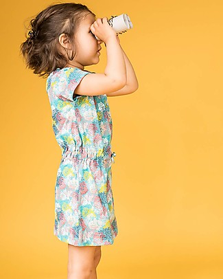 Sense Organics Short Sleeves Girl Dress Sari, Corals - 100% organic cotton Dresses