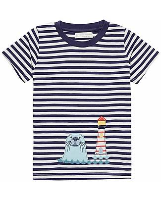 Sense Organics Short Sleeves Striped Shirt with Applique Ibon, Seal - 100% organic cotton T-Shirts And Vests