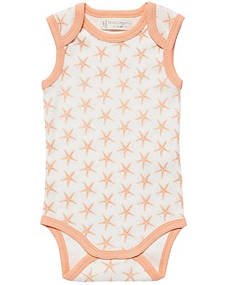 Sense Organics Sleeveless Baby Body Yaro Retro, Starfish - 100% organic cotton Short Sleeves Bodies