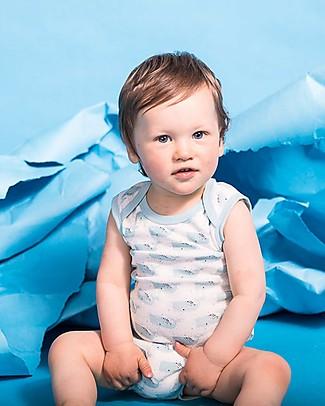 Sense Organics Sleeveless Baby Body Yaro Retro, Whales - 100% organic cotton Short Sleeves Bodies