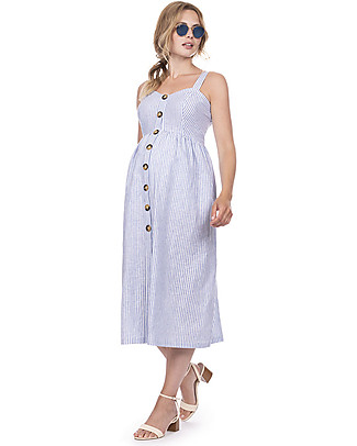 Seraphine Adalia, Maternity Button front Dress, Stripe - Linen/Cotton Special Occasion