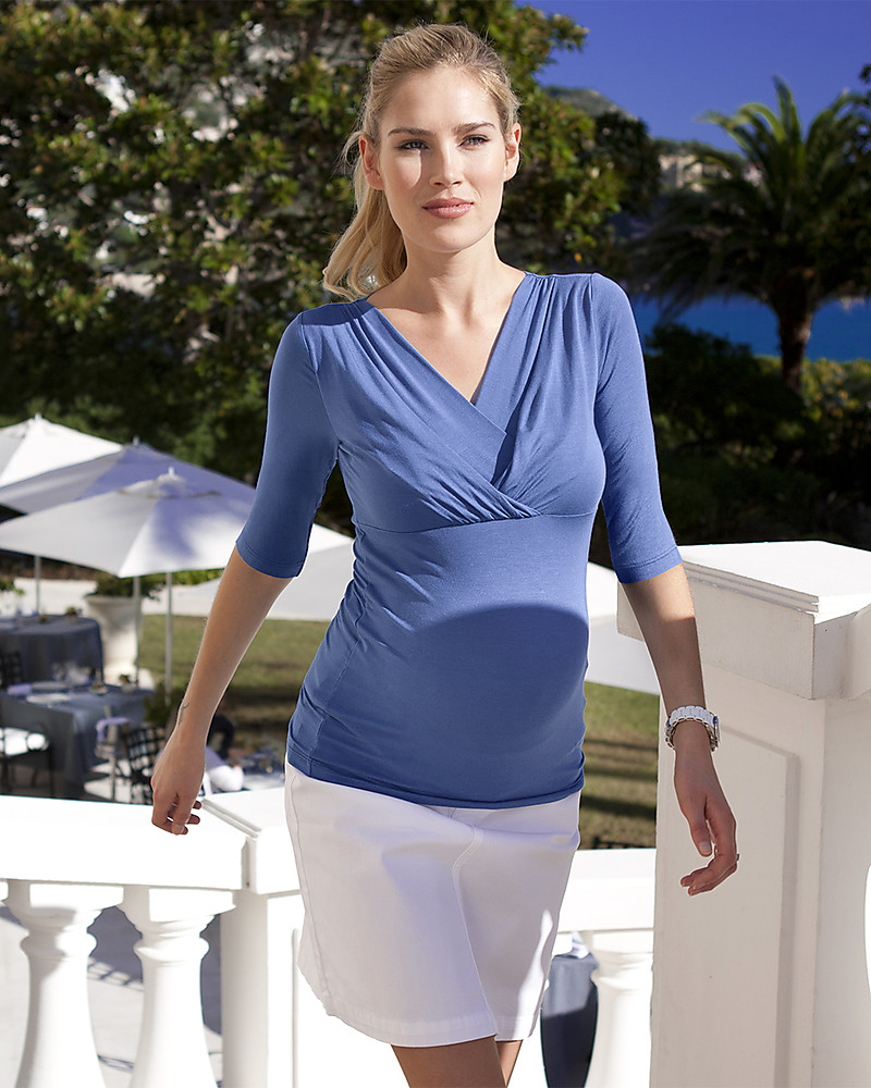 fcf15bdccad Seraphine Adele, 3/4 Sleeves Pleated Maternity & Nursing Top, Iris Blue Long