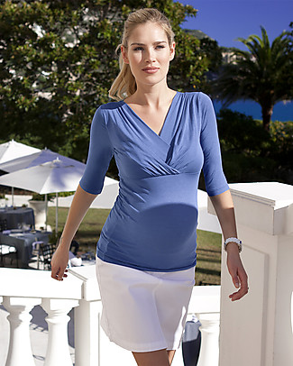 Seraphine Adele, 3/4 Sleeves Pleated Maternity & Nursing Top, Iris Blue Long Sleeves Tops