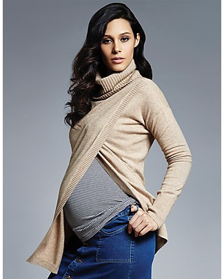 Seraphine Akira: Roll Neck Nursing Sweater with Side Opening, Camel Jumpers