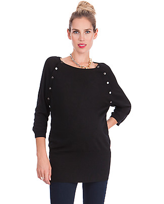 Seraphine Alexia Maternity & Nursing Jumper - Black - Bamboo + Wool (warm and cozy!) Jumpers