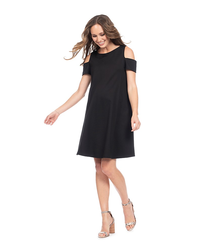 67540a7bd9f Seraphine Bluebell Off Shoulder Maternity   Nursing Dress - Black Dresses