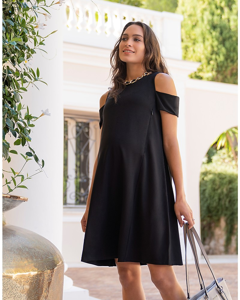8ab559112755f Seraphine Bluebell Off Shoulder Maternity & Nursing Dress - Black Dresses