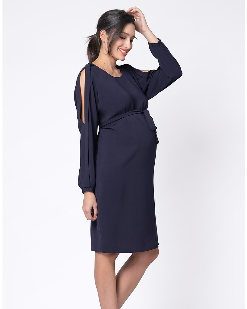 7b4eb42b5a1 Seraphine Brielle Cold Shoulder Maternity and Nursing Dress - Navy woman