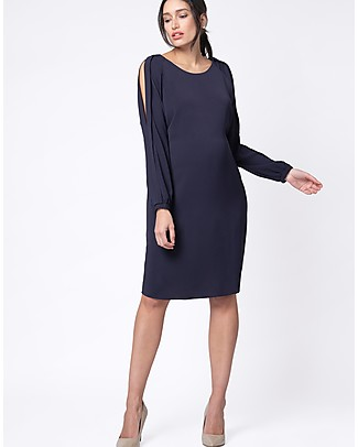 Seraphine Brielle Cold Shoulder Maternity and Nursing Dress - Navy Dresses
