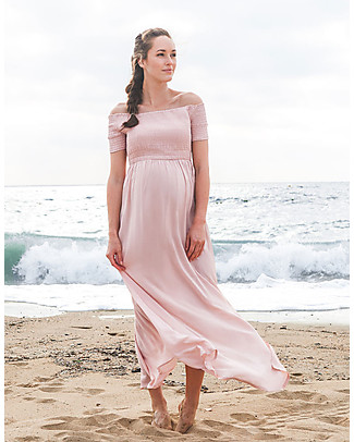 Seraphine Brylee Shirred Maternity Maxi Dress, Blush - 100% Viscose Dresses