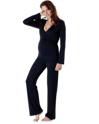 Seraphine Camille Maternity & Nursing Lounging Pyjamas - natural Bamboo fabric: anti-bacterial and breathable - Black Pyjamas