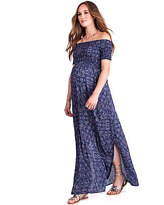 Seraphine Cara Shirred Maternity Maxi Dress - Navy Print Dresses