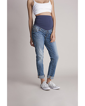 Seraphine Carson, Relaxed Slim Overbump Maternity Jeans - Mid Blue Trousers