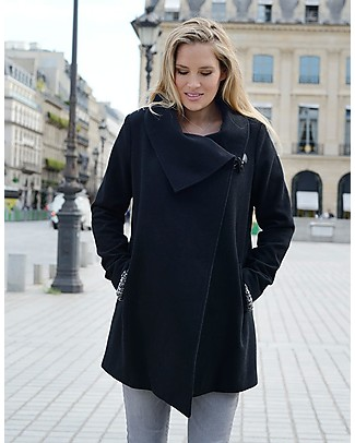 Seraphine Clarence, Wool and Cashmere Maternity Coat, Black Coats