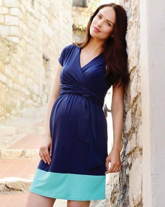 Seraphine Colour Block Enja Maternity / Nursing Dress - Navy Blue and Aqua! Dresses