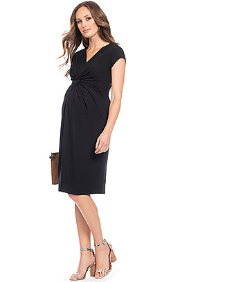 Seraphine Cordelia maternity dress with knotted front & shyort sleeves - Black Dresses