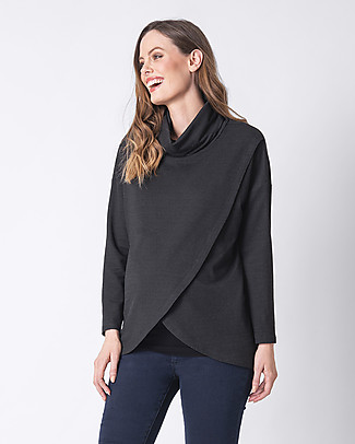 Seraphine Crossover Maternity and Nursing Alice Sweater, Black Jumpers