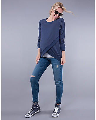 Seraphine Crossover Maternity and Nursing Sybil Sweater, Blue marl Jumpers