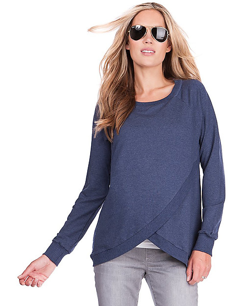 Seraphine Crossover Maternity And Nursing Sybil Sweater Blue Marl Woman