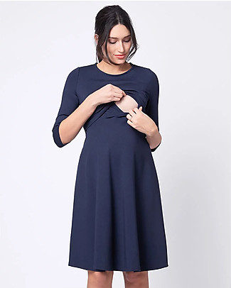 Seraphine Davie, Classic Nursing and Maternity Dress with ¾ Sleeves - Navy Dresses