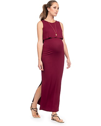 Seraphine Dominique Layered Nursing Maxi Dress - Burgundy Dresses