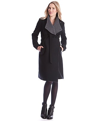Seraphine Donatella, Wool and Cashmere Maternity Coat, Charcoal Black Coats