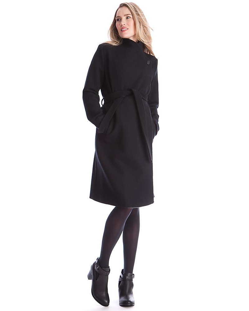 bd77388075eb4 Seraphine Donatella, Wool and Cashmere Maternity Coat, Charcoal Black Coats